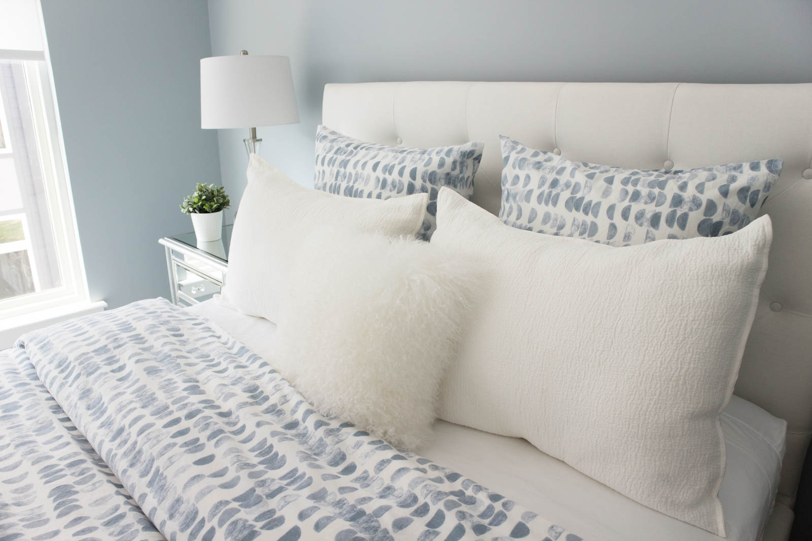 Pottery Barn Lorraine bed, guest bedroom home tour