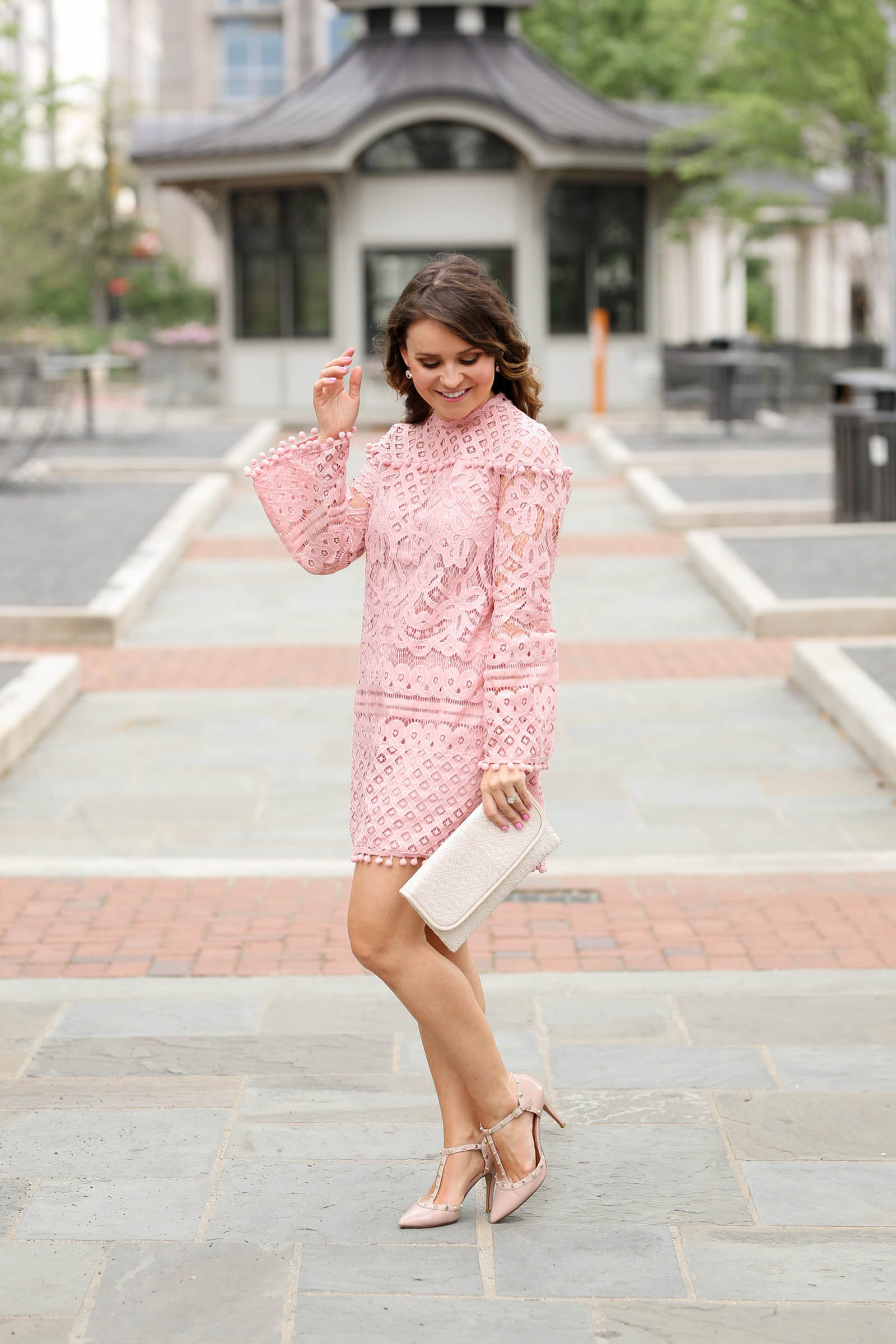 blush lace dress under $20
