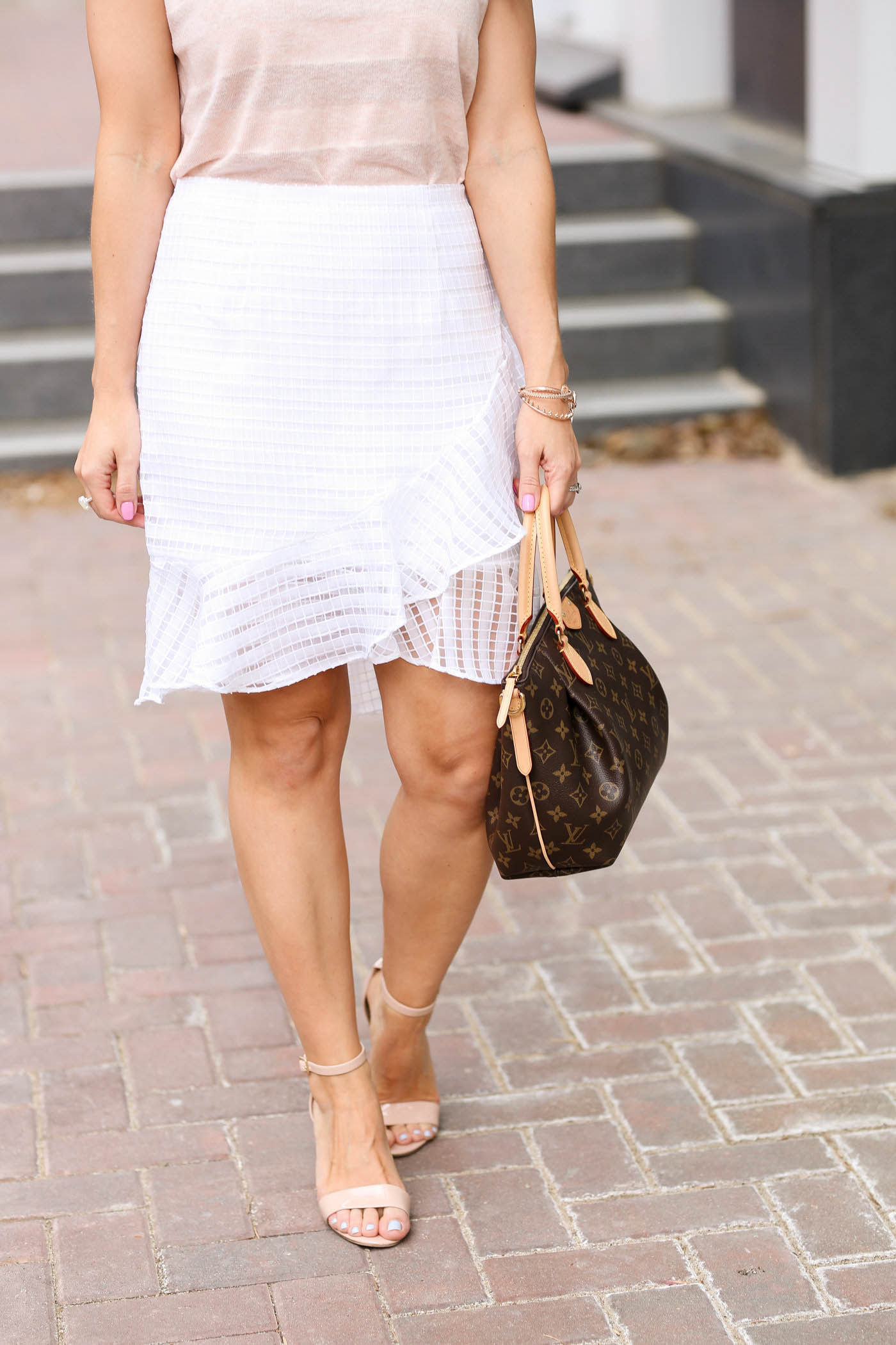 bp luminate heels, white eyelet skirt