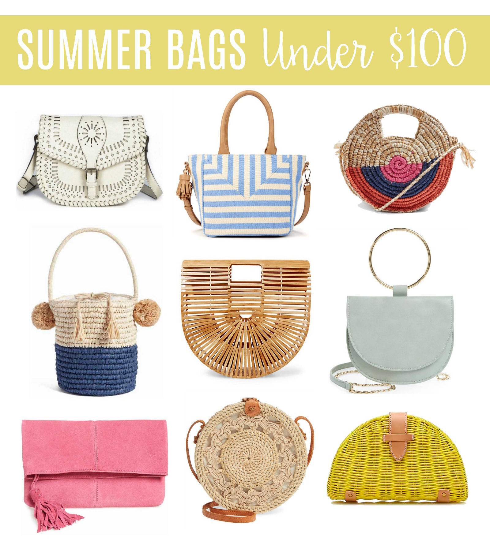 summer bags under $100, circle straw bag