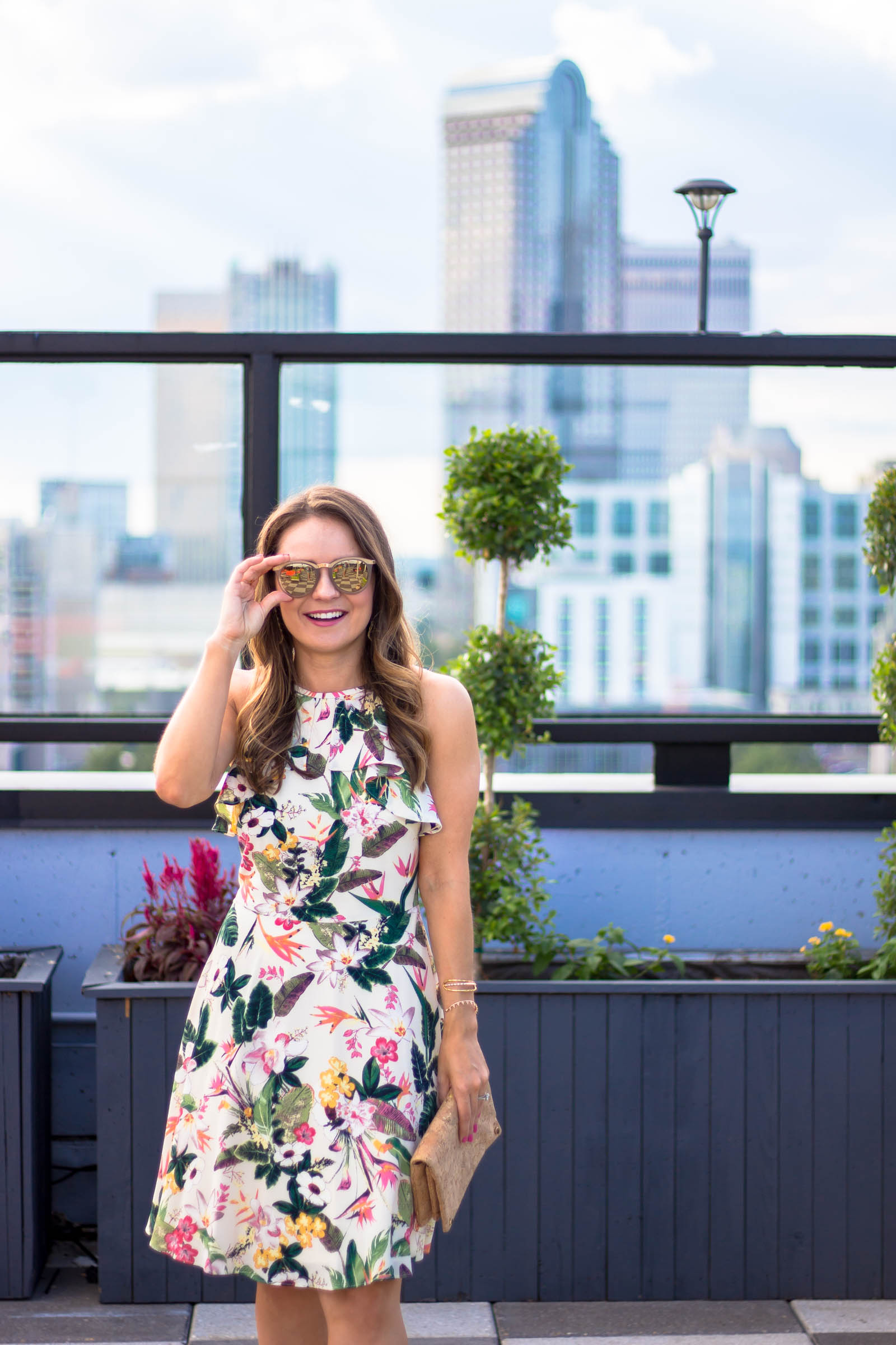 London Times Lala fit & flare dress, city lights rooftop