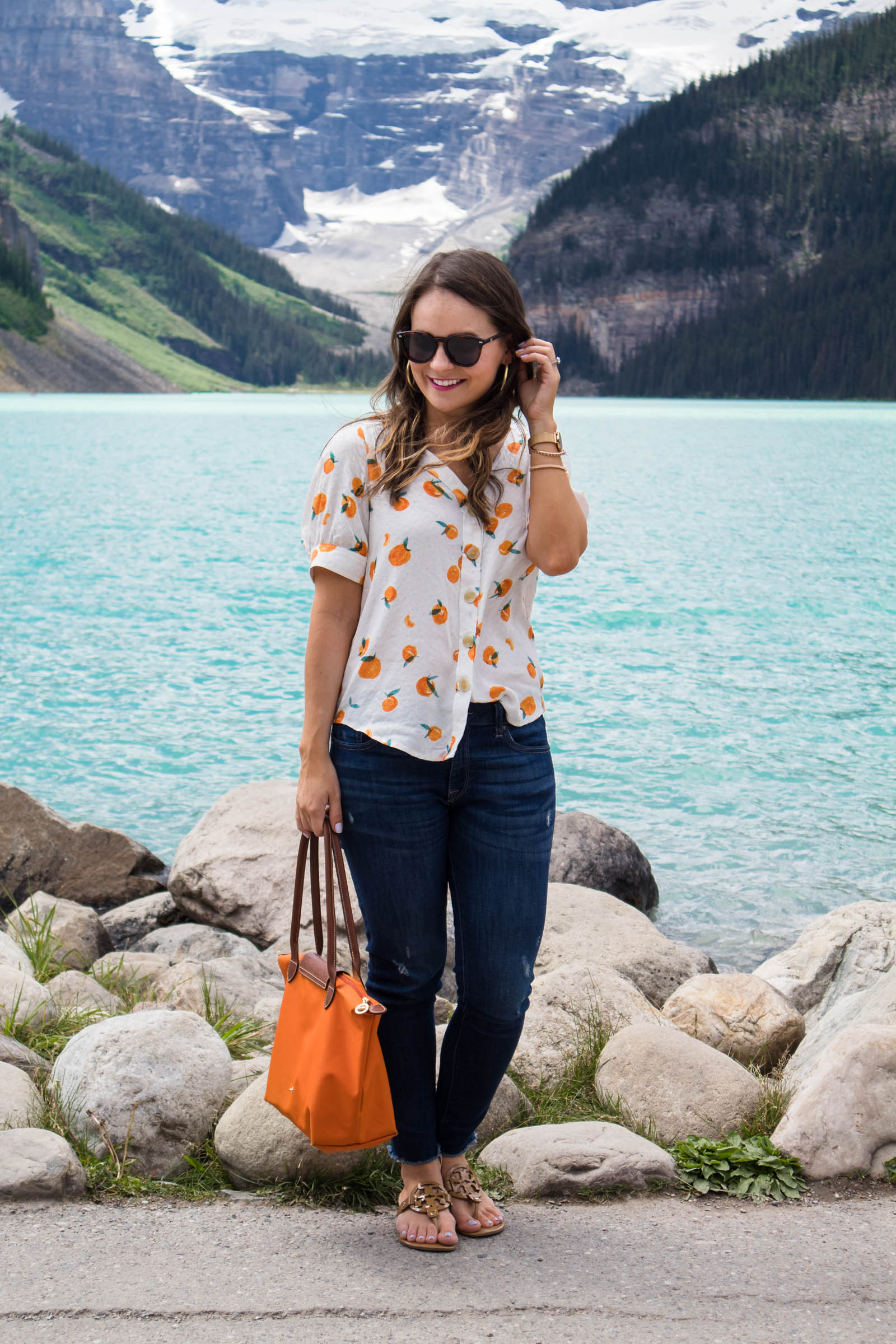 maeve hansley blouse, orange print top