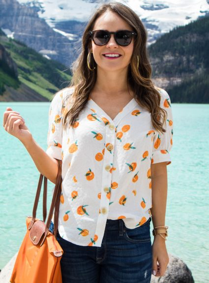 Orange Print Top at Lake Louise