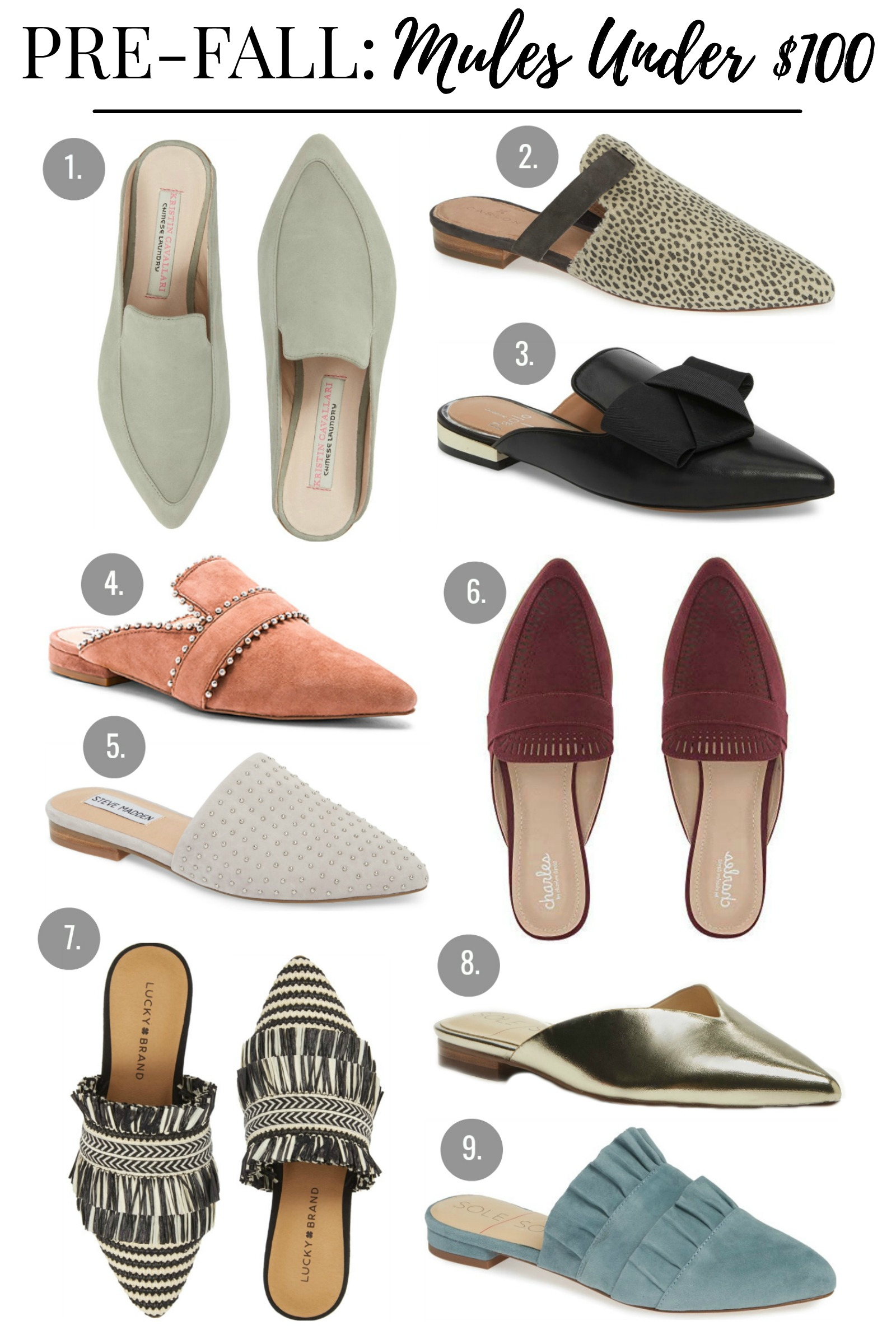 fall mules under 100
