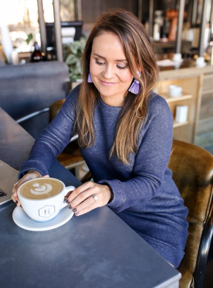 Blue Sweatshirt Dress Under $30 + A New Coffee Spot