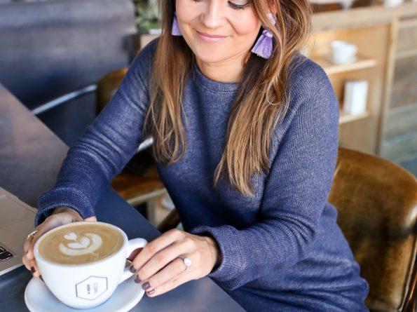 Blue Sweatshirt Dress Under $30 + A New Coffee Spot