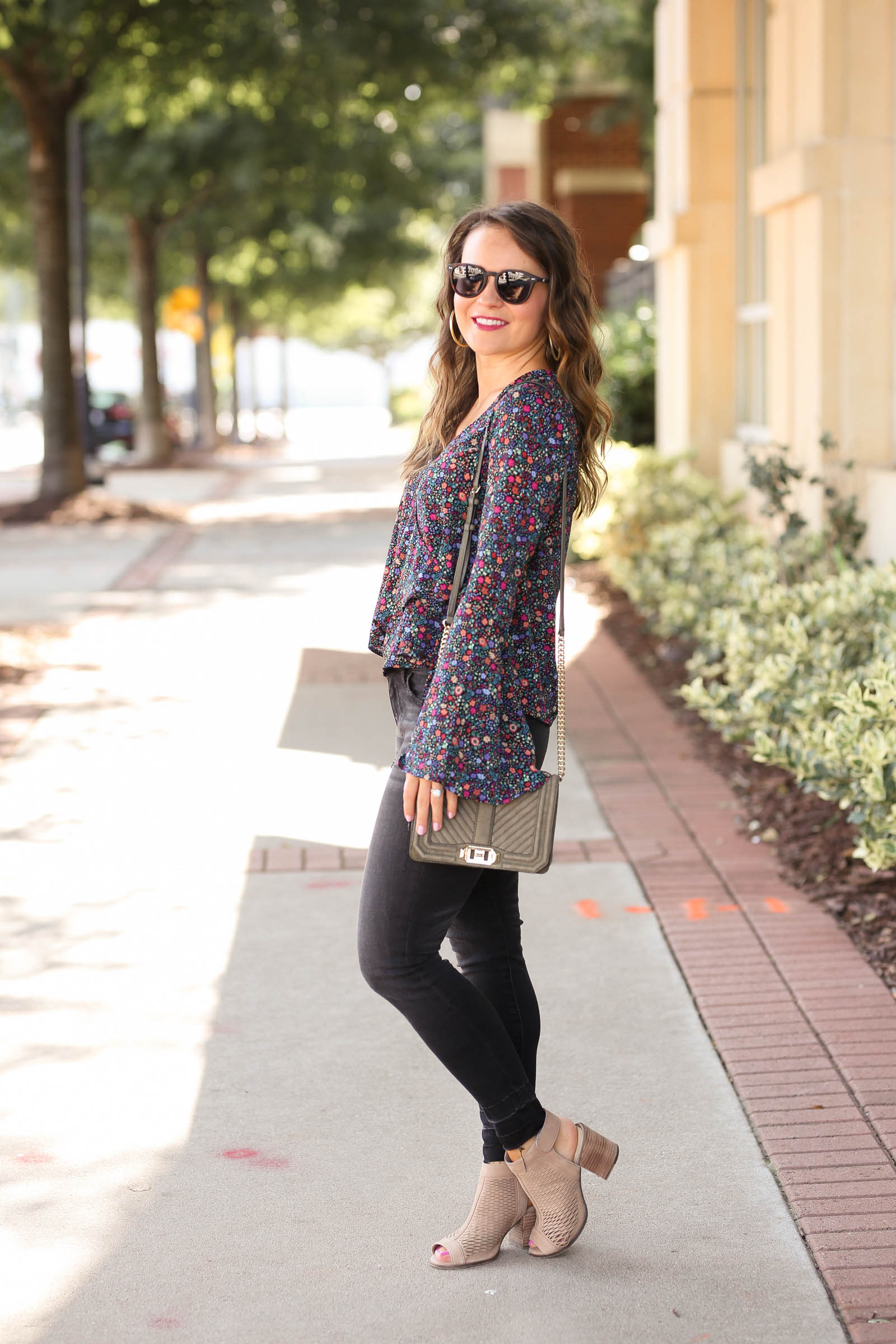 fall outfit, floral bell sleeve top