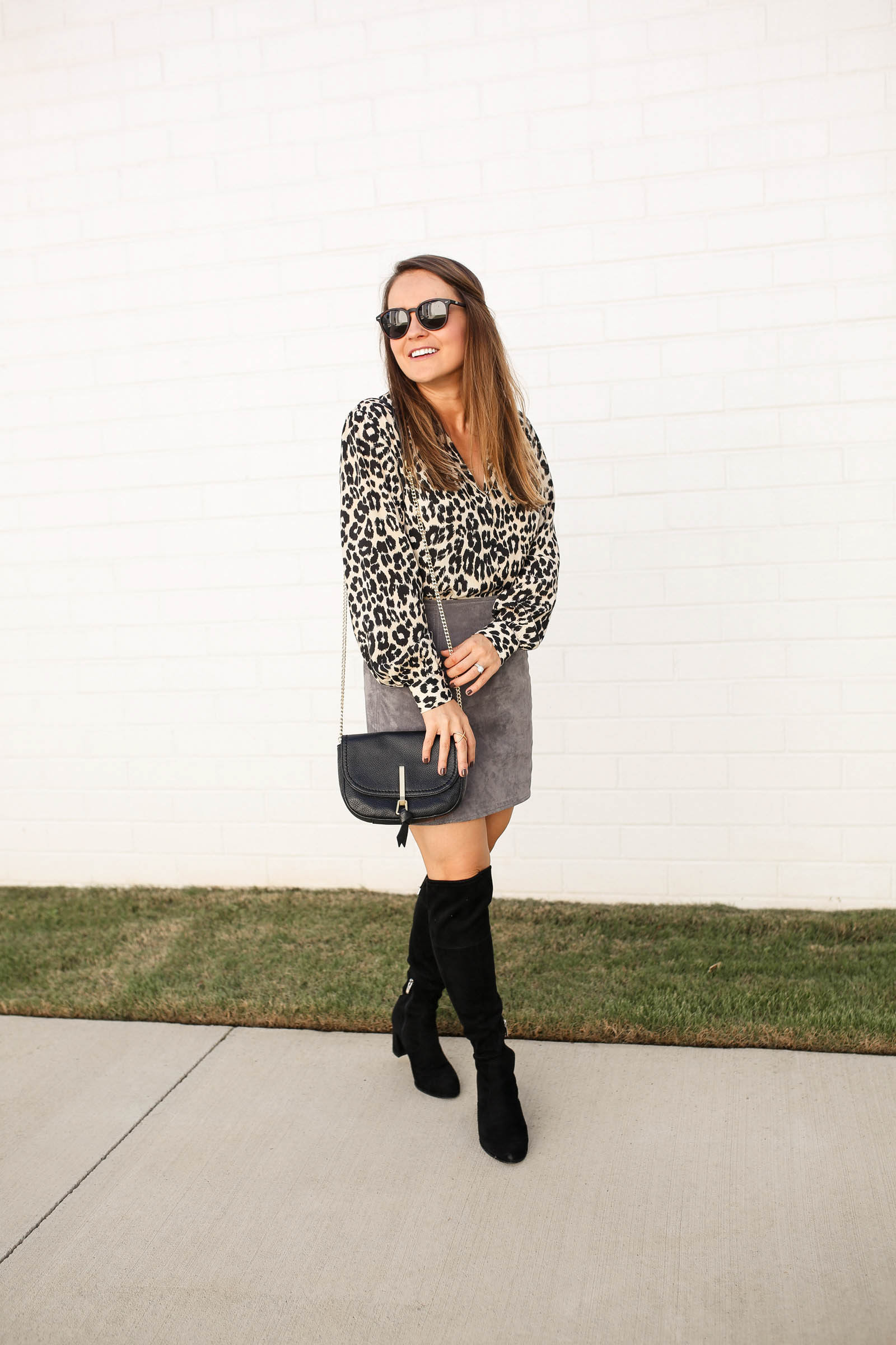 topshop animal print blouse, suede skirt