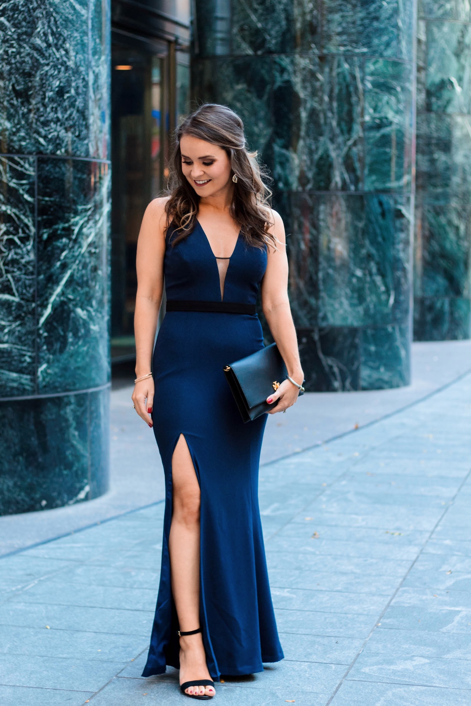navy formal dress, dress the population Lana Plunging Strappy Shoulder Gown
