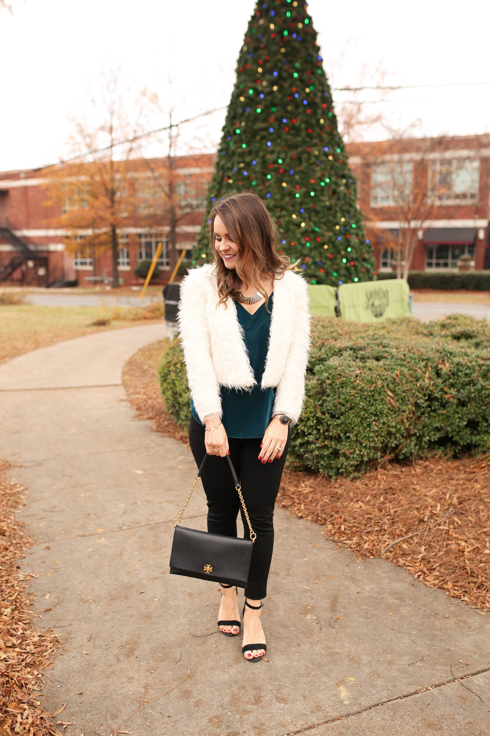holiday party outfit, express velvet downtown cami