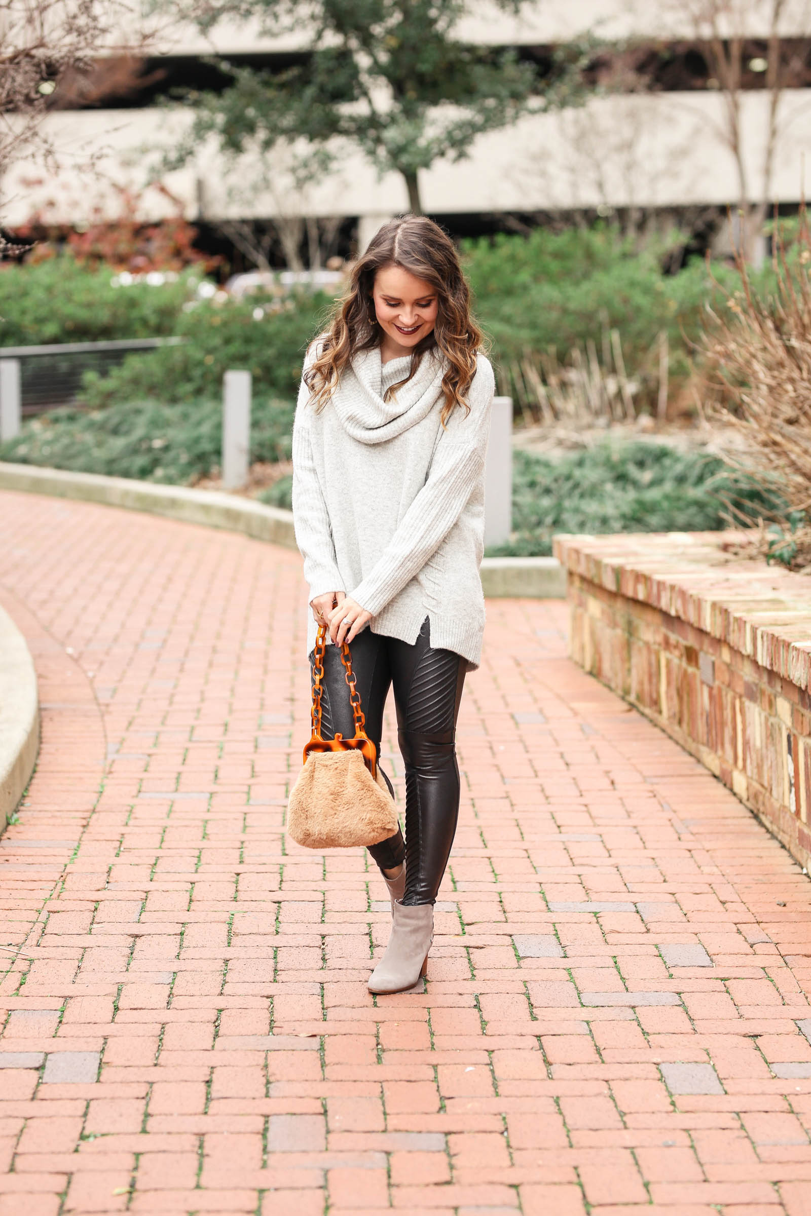 Spanx moto leggings, casual winter outfit