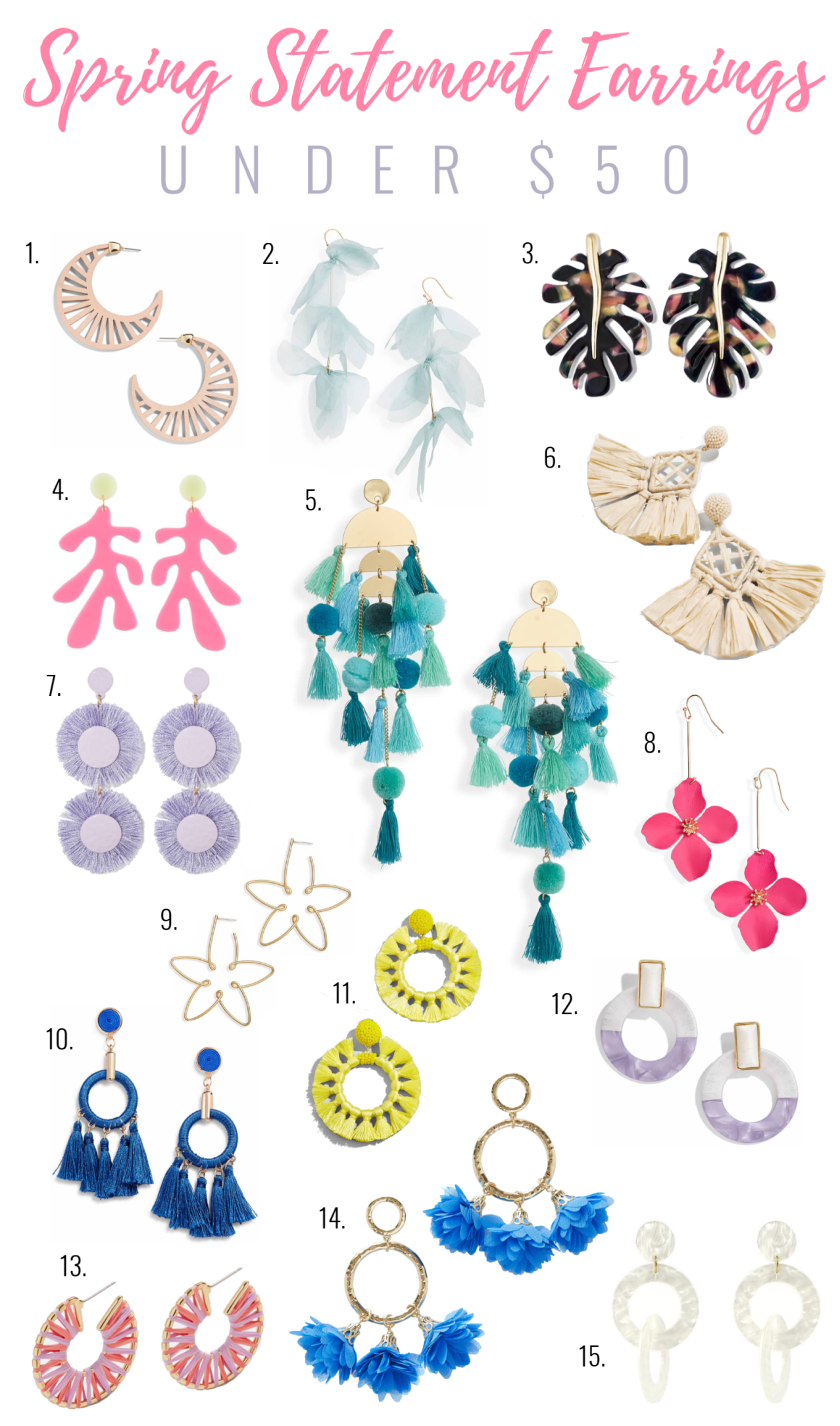 Spring Statement Earrings Under $50, affordable statement earrings