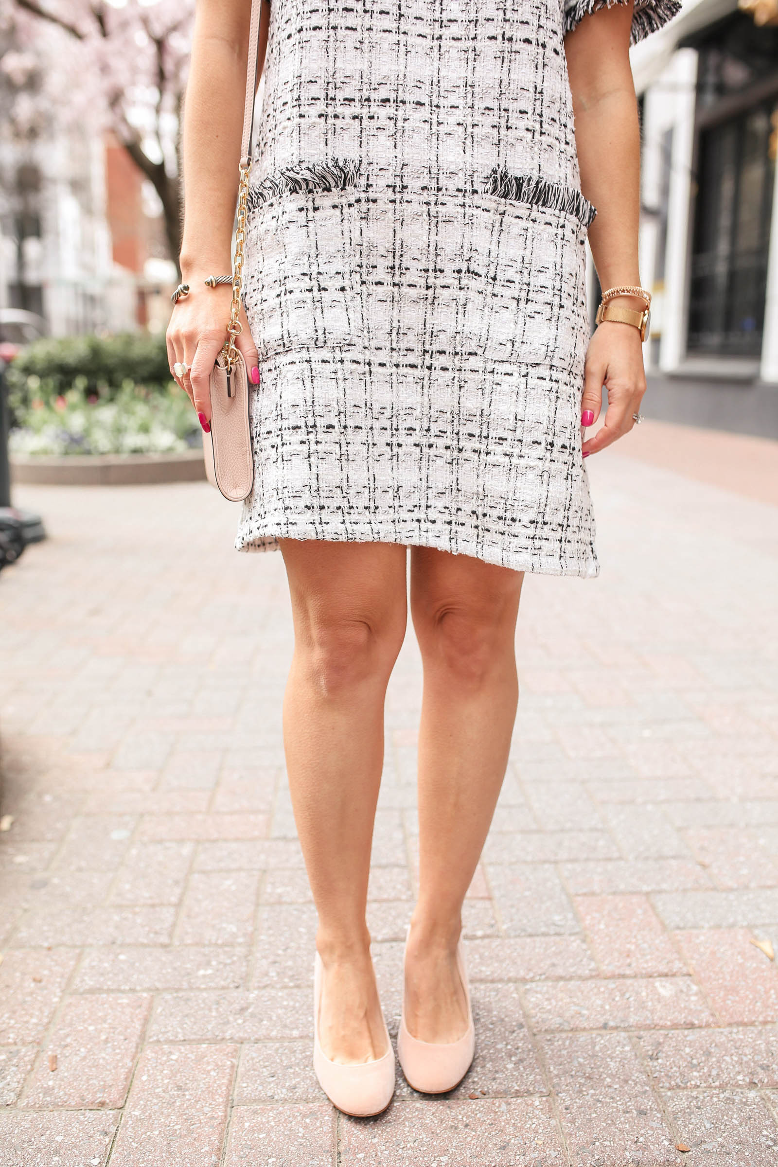 Frayed Edge Pocket Front Tweed Dress, blush heels