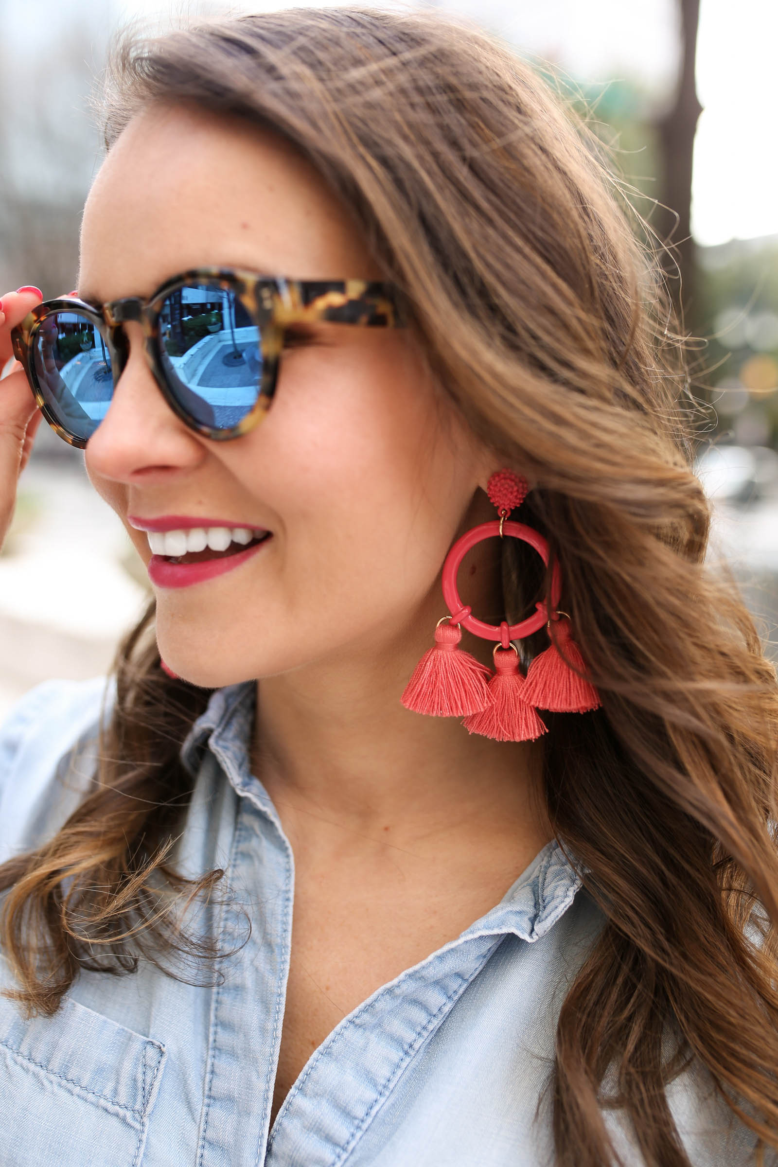 SUGARFIX by BaubleBar Mixed Media Hoop Earrings with Tassels, Illesteva Leonard sunglasses, coral tassel earrings