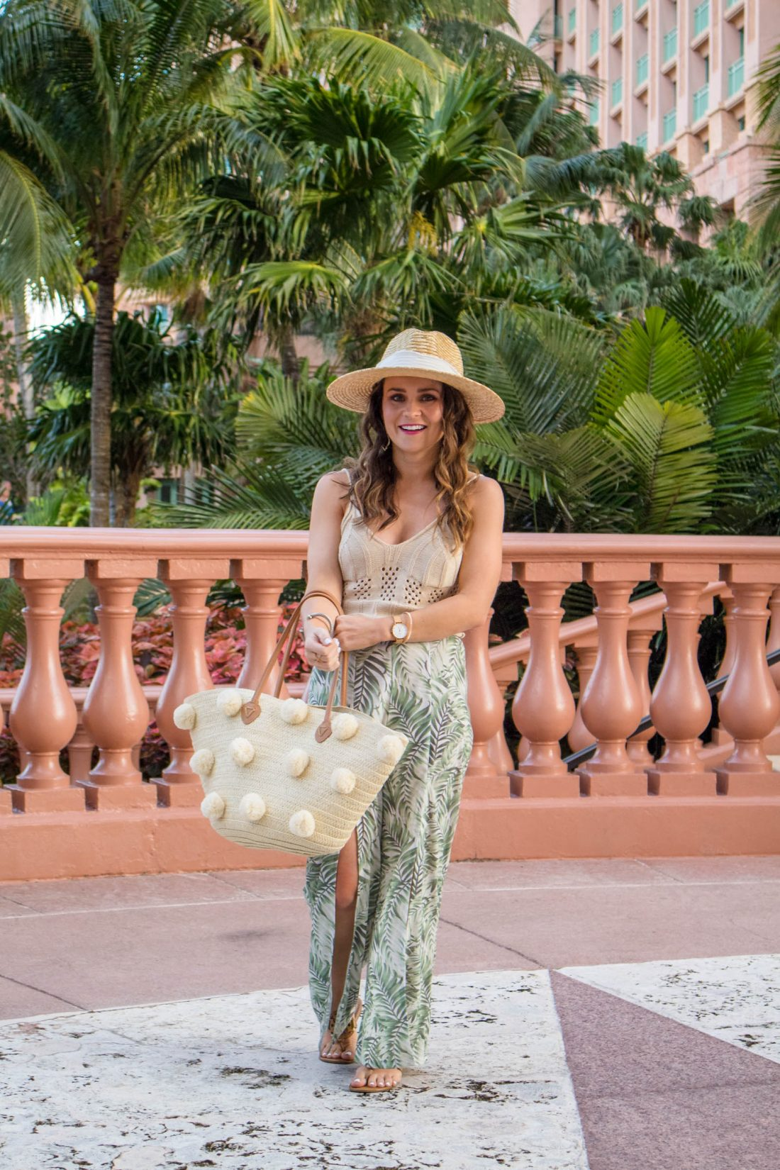 vacation outfit, palm print pants