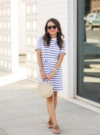 Blue Striped T-Shirt Dress
