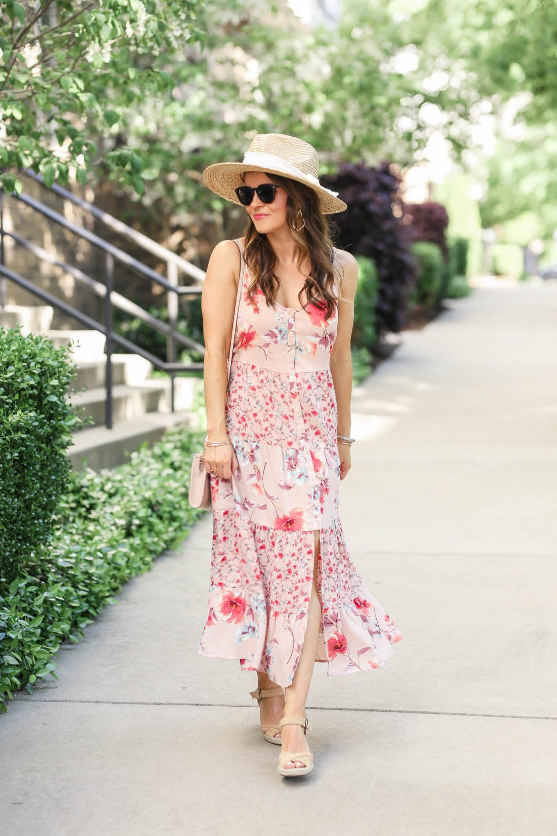 Floral Print Scoop Neck Strappy Button Front Tiered Midi Dress
