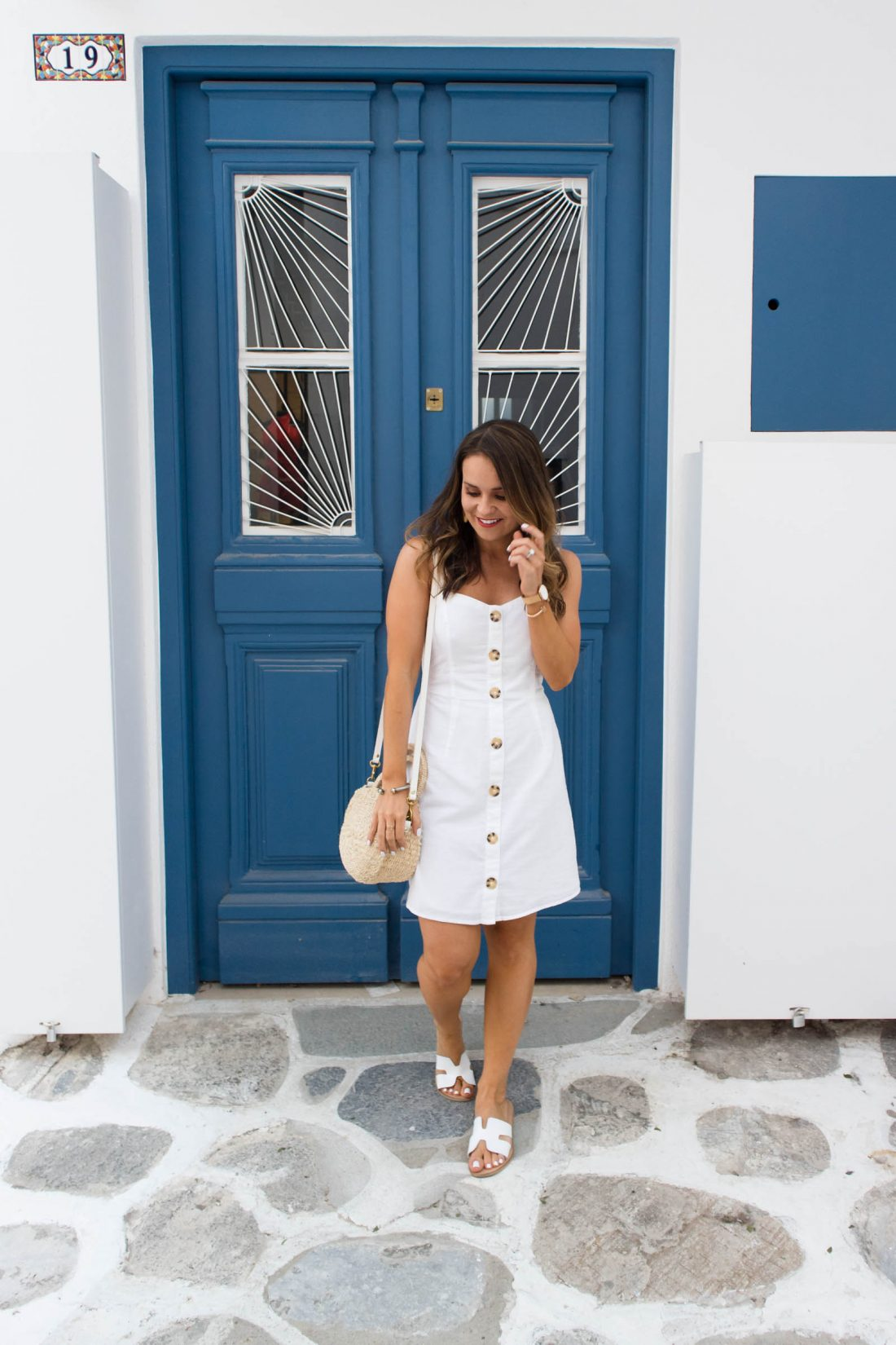 white button down cami dress