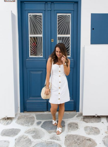White Button-Up Dress in Mykonos
