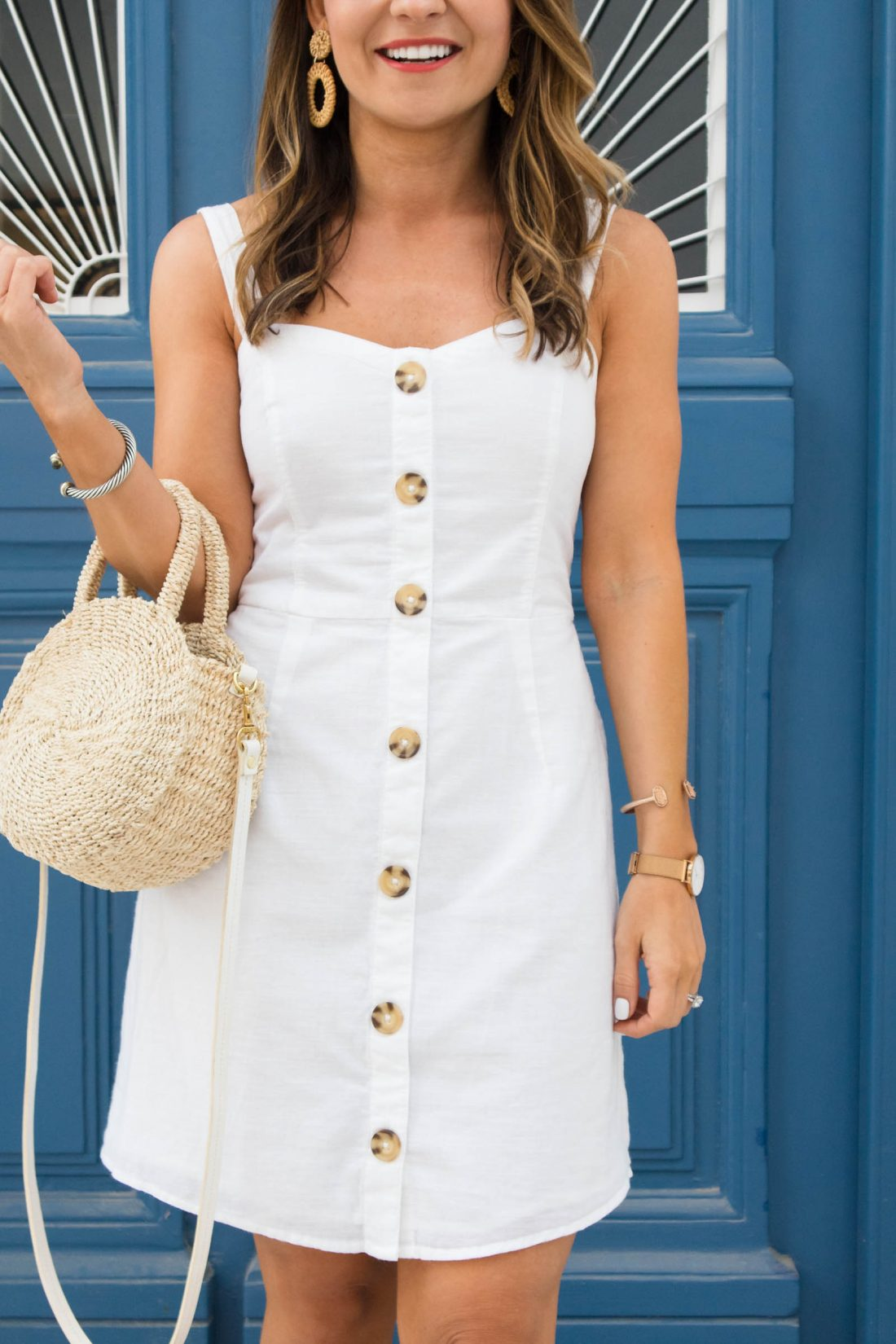 Abercrombie white button down cami dress