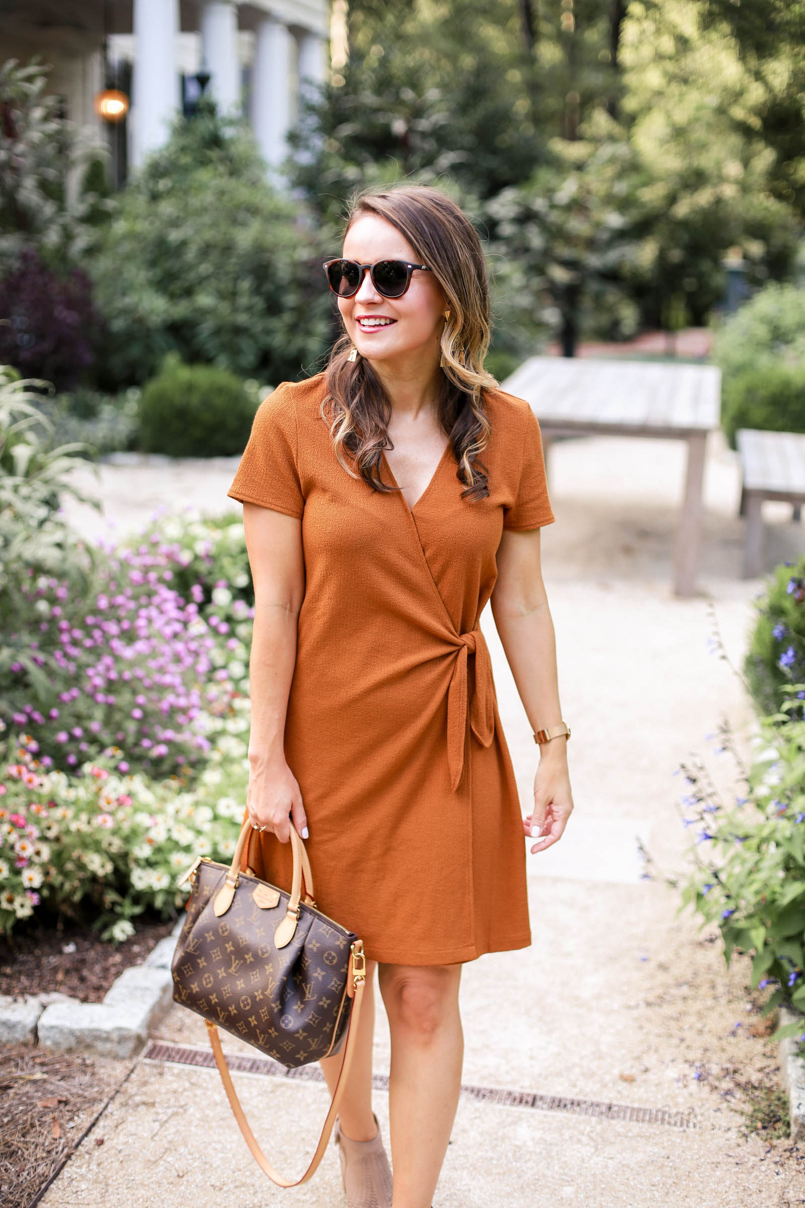 fall dress, madewell Texture & Thread Short-Sleeve Side-Tie Dress