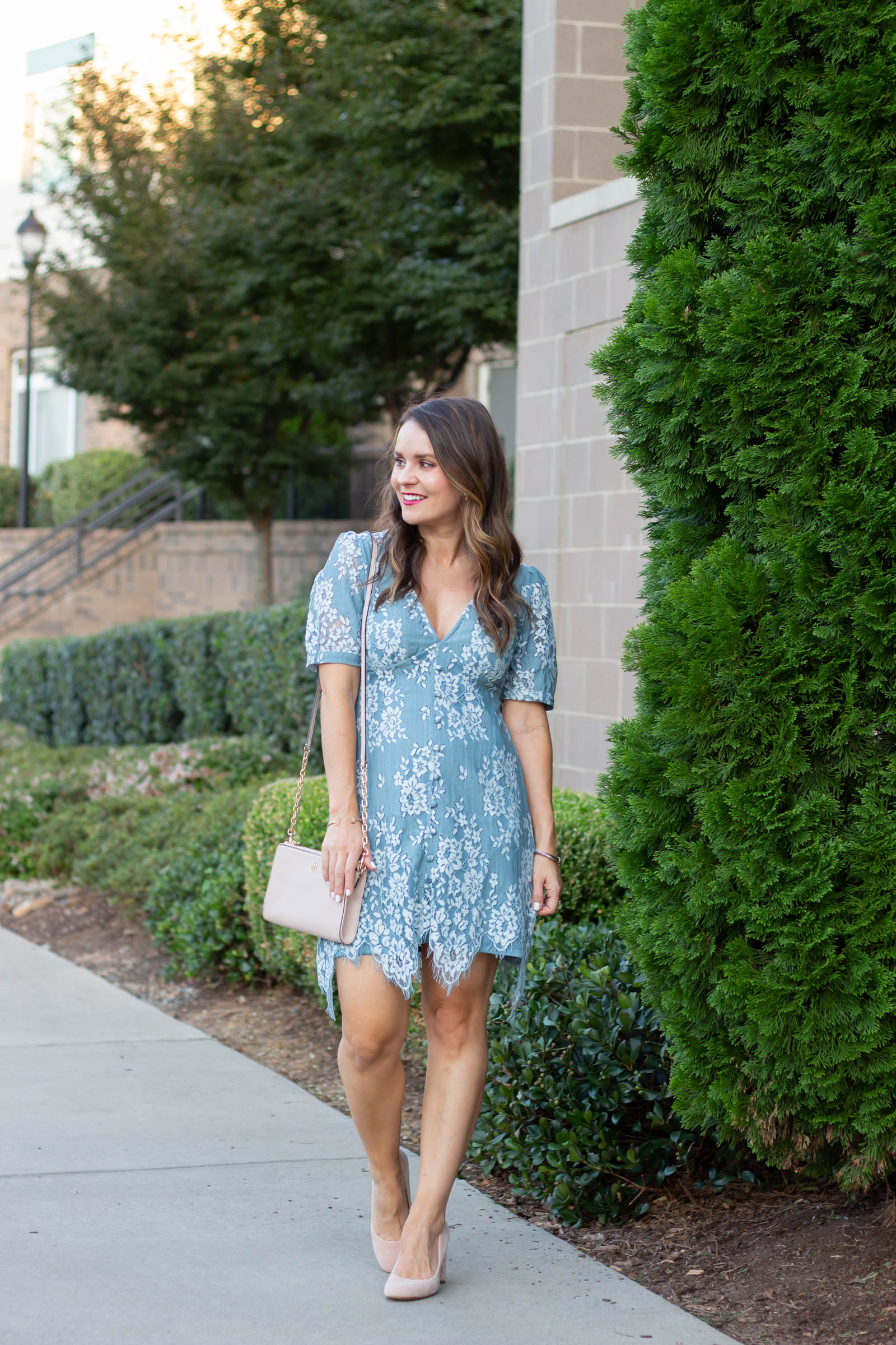 blue lace dress, ASOS DESIGN mini button through lace tea dress