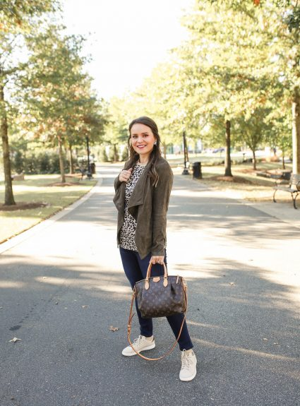 Casual Fall Style: Suede Jacket + Neutral Sneakers