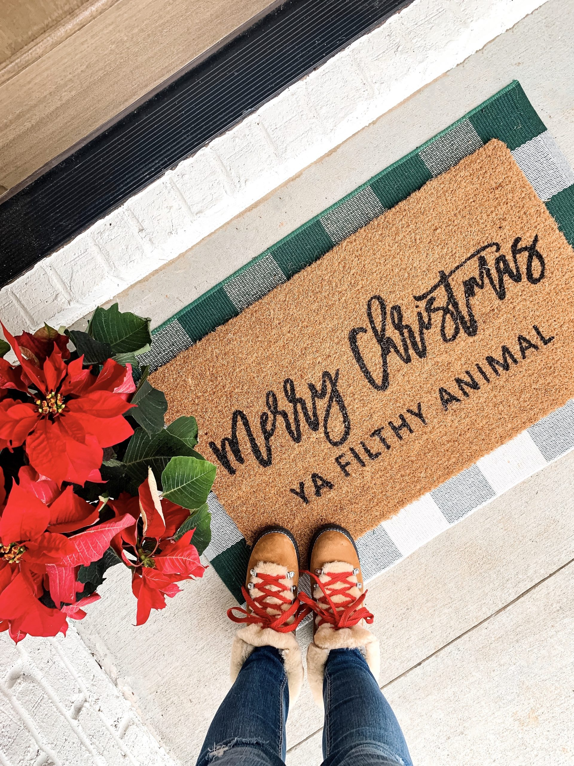 merry christmas ya filthy animal doormat, Christmas doormat