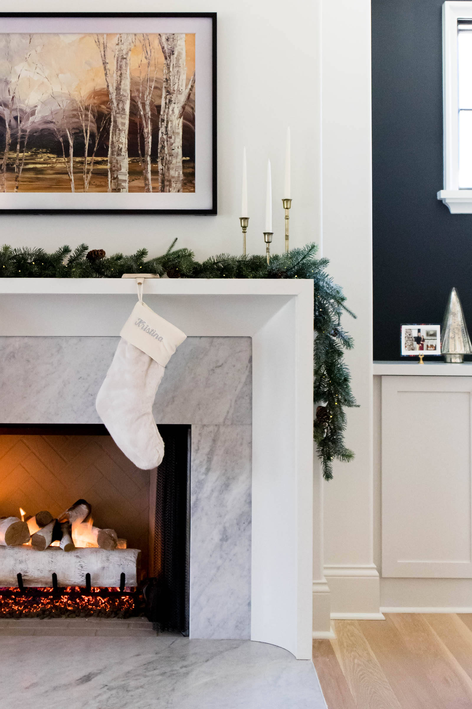 holiday mantel decor, Carrara marble fireplace surround