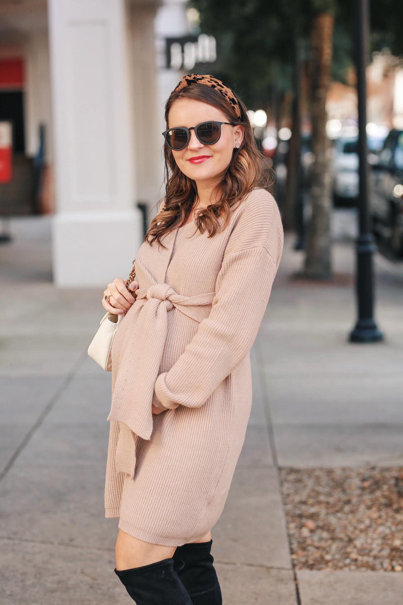 tan sweater dress