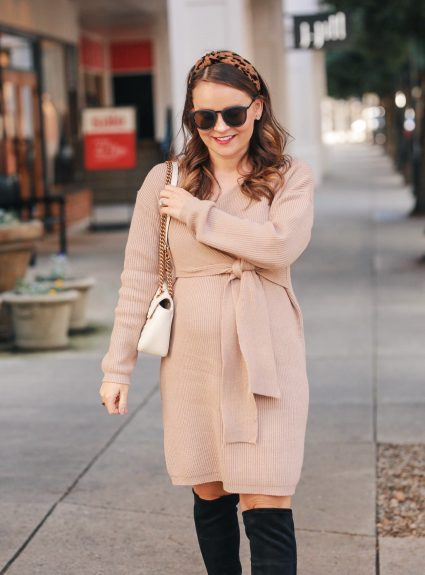 Bump Style: Tan Sweater Dress