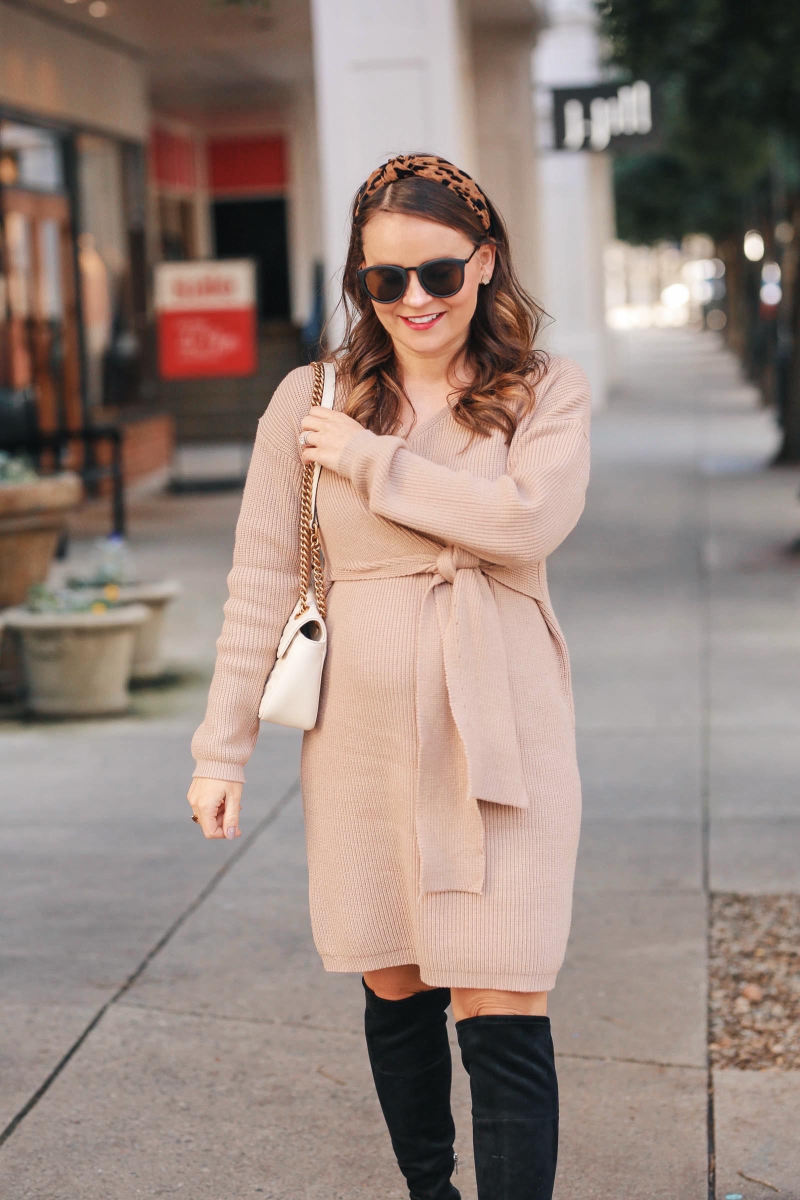 maternity sweater dress, maternity style