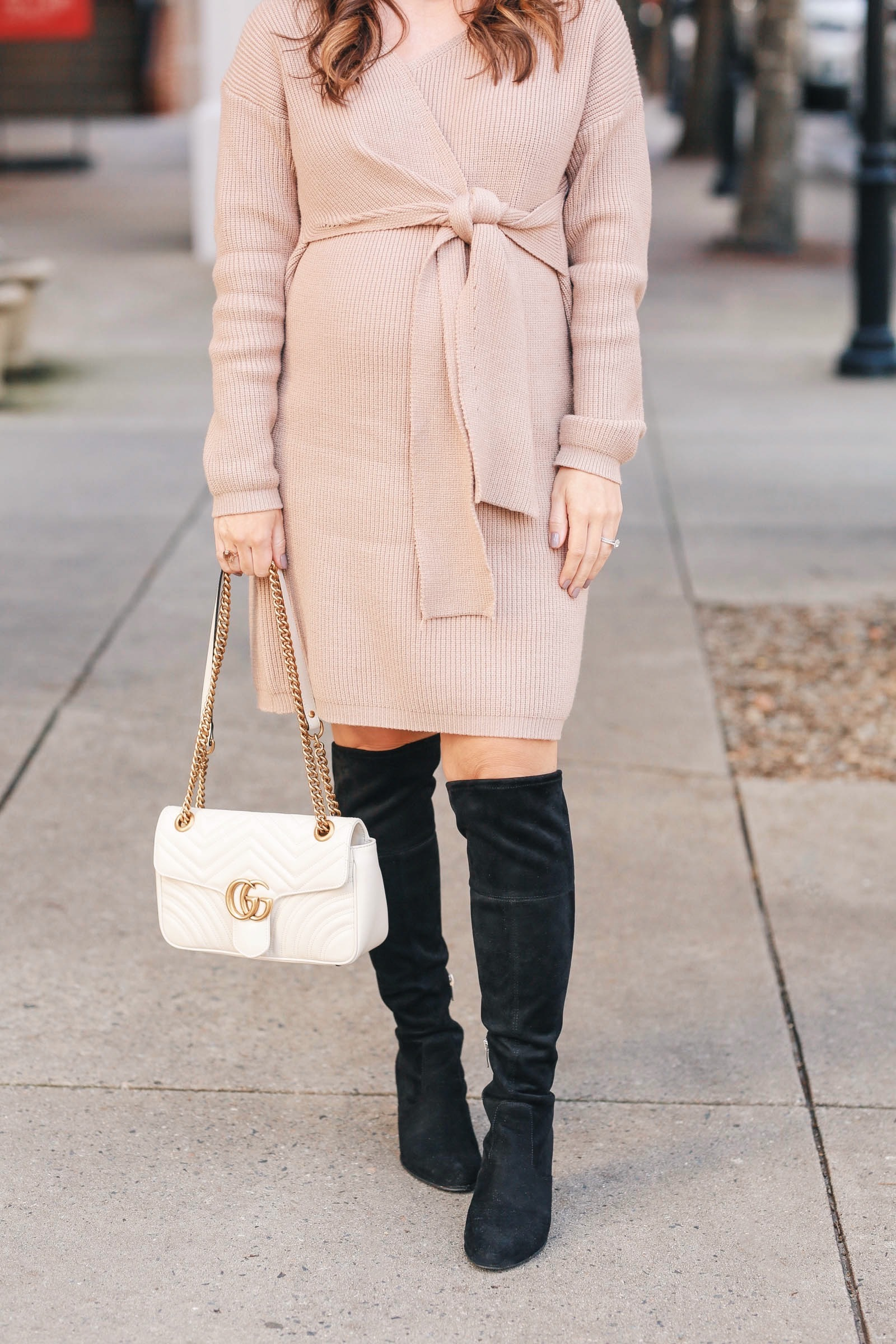 tan sweater dress, maternity style