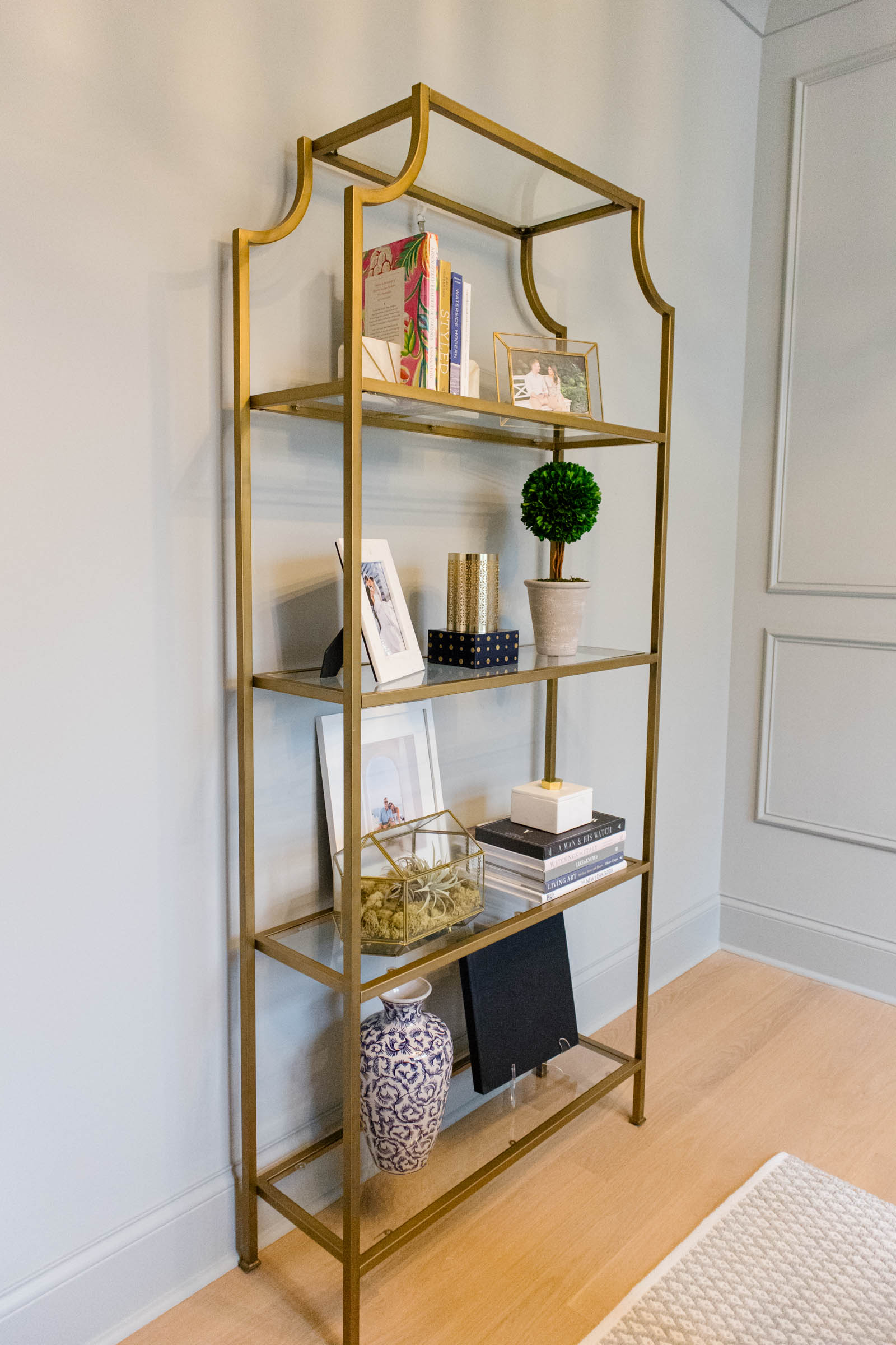 brass etagere shelves