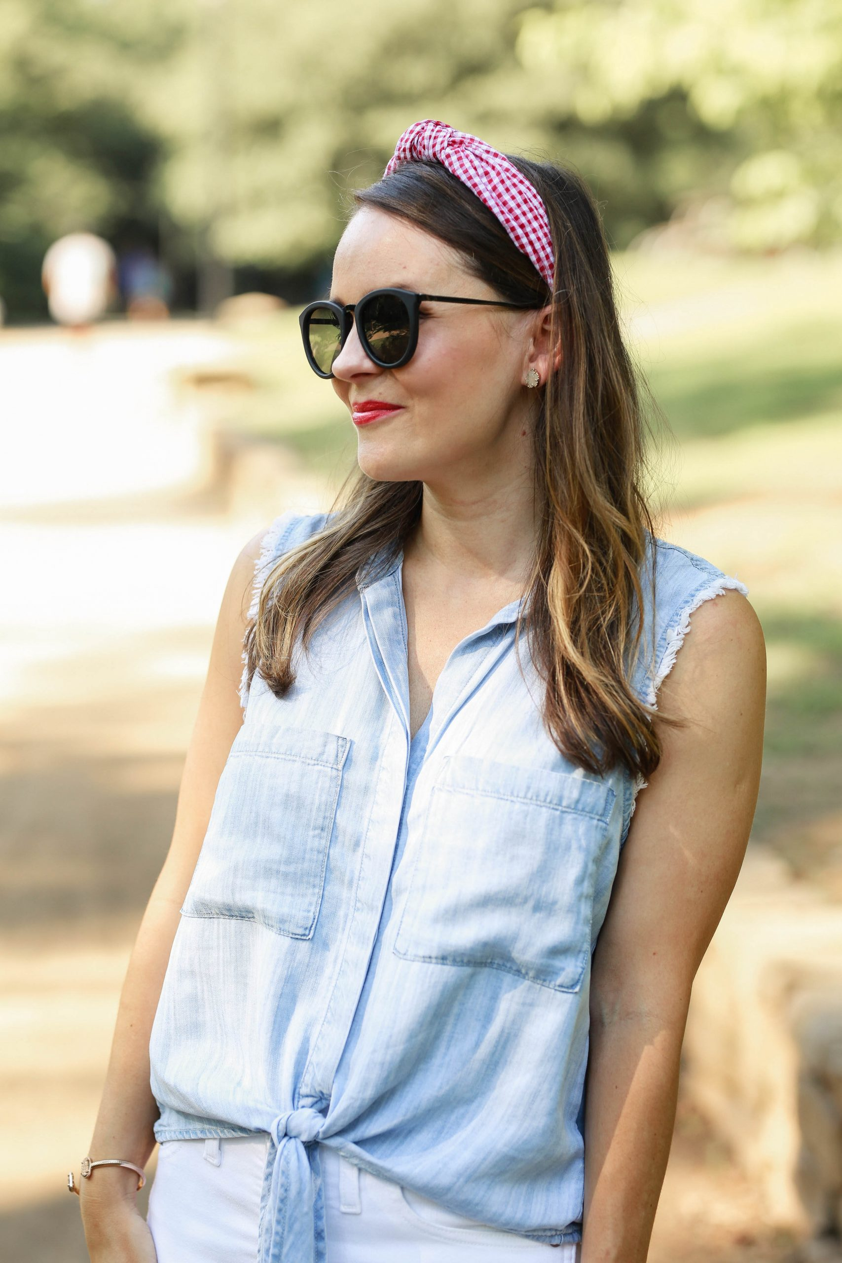 Cloth & Stone Tie-Front Chambray Buttondown, red gingham headband