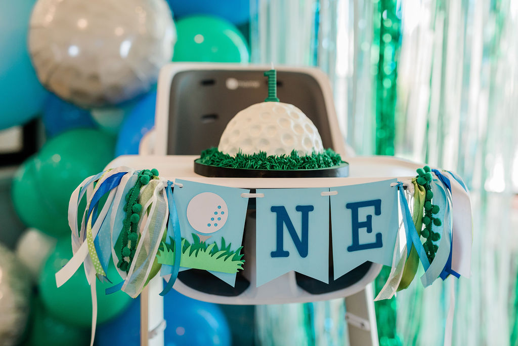 hole in one party, golf smash cake