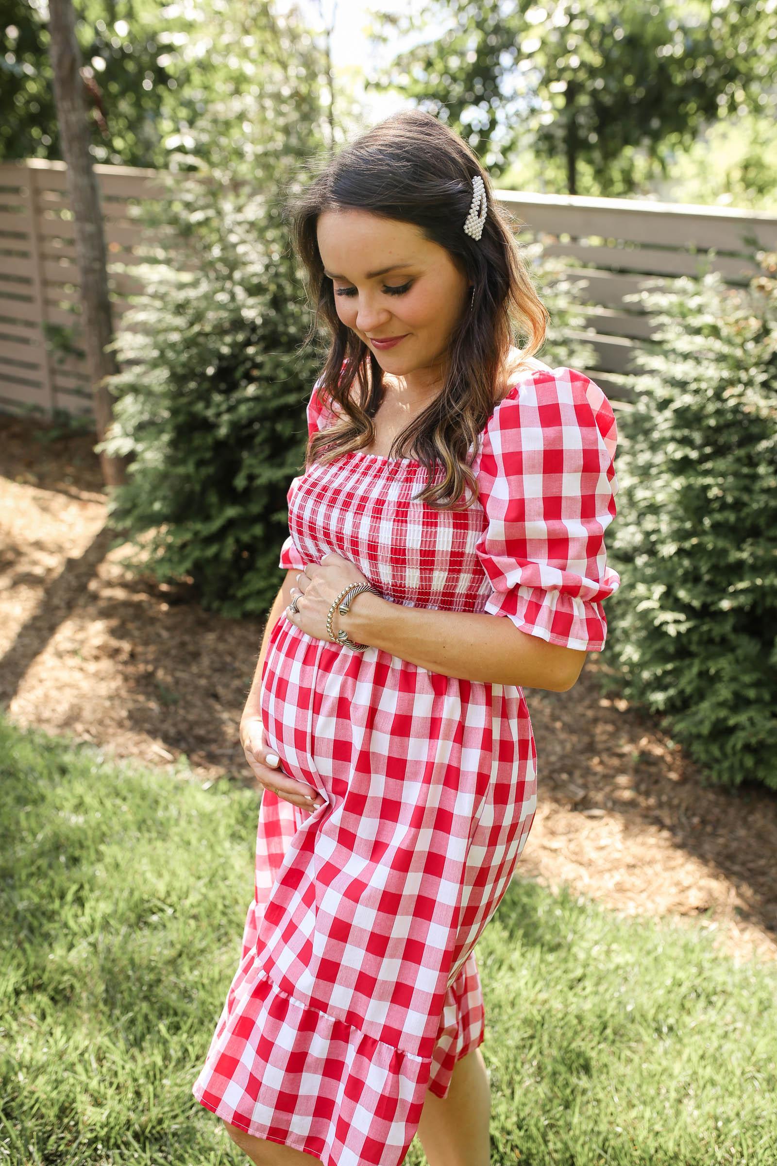 red gingham maternity dress